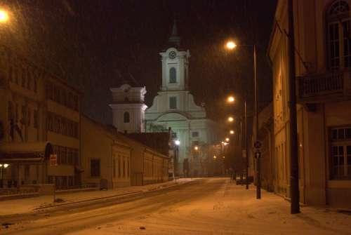 Church Békéscsaba Evangelical Church Snow Winter