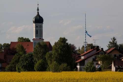 Church Onion Dome Baroque Upper Bavaria Rural