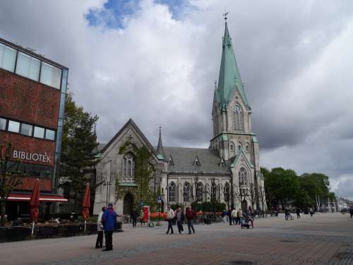 Church Clouds Building Cross Cathedral Norway