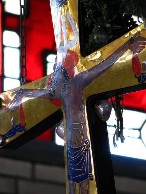 Church Cross Christ Jesus Holy Colorful Glass