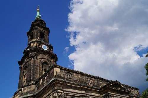 Church Bell Tower Cross Church Dresden Historically
