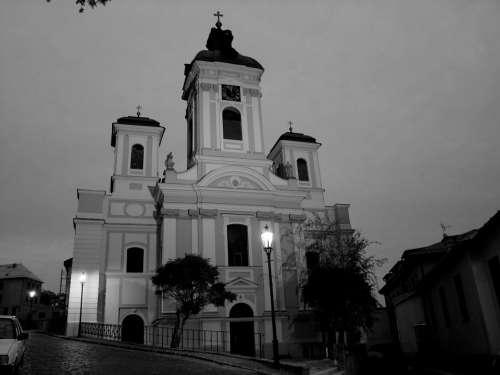Church Light B W Photography Dark Contrast Tree