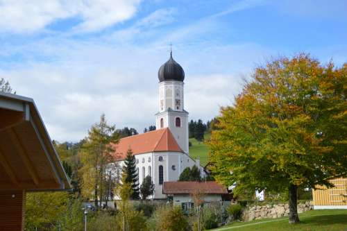 Church Autumn Blue Sky Onion Dome Allgäu