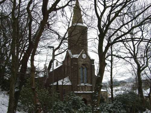 Church Cold Winter Trees Scenery Snow Snowy