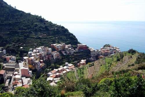 Cinque Terre Liguria Houses Sea Mountain Green
