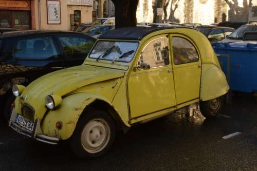 Citroën 2Cv Car Yellow Avignon France