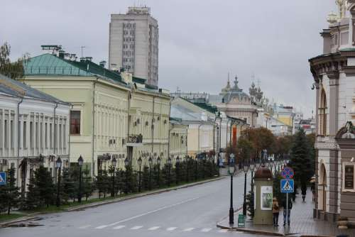 City Russia Autumn Avenue Road Kazan