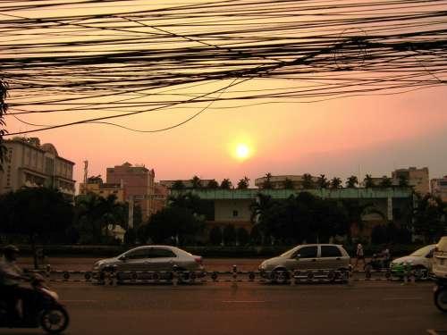 City Urban Viet Nam Cityscape Composition Cables
