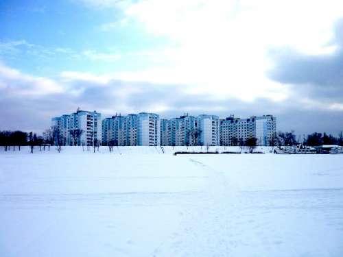 City Volga Bright Blue Clouds Sky River