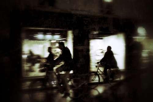City Night Silhouettes Bike Movement Evening