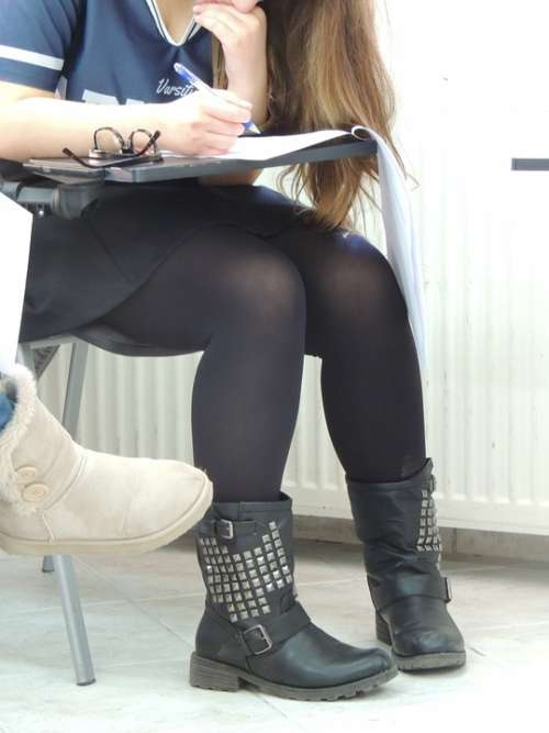 Classroom Exams Stress Girl Sitting Legs