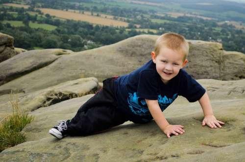 Climbing Rocks Child Boy Kid Young Sport Joy