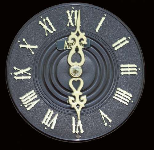 Clock Face Dial Close-Up Roman Numerals Isolated