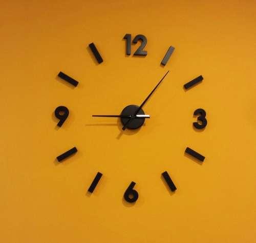 Clock Orange Wall Hour Time