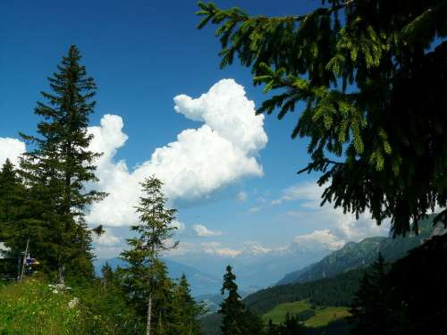 Cloud Sky Blue Alpine Mountains Clouds Form Firs