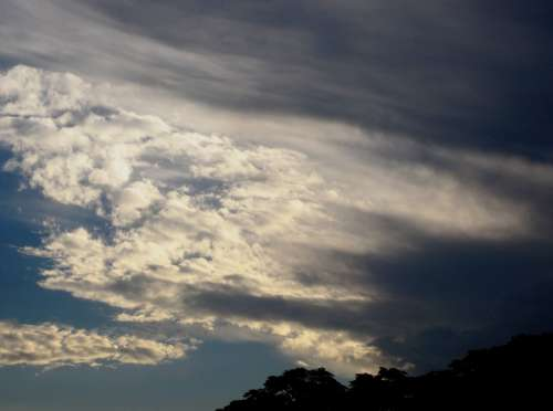 Clouds Swept Streaked Clumped White Shadow Light