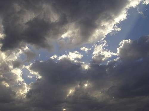 Clouds Sky Light Sun Rays Sunbeam Lichtspiel