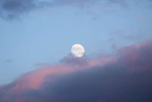 Clouds Sky Blue Moon Full Moon Bright