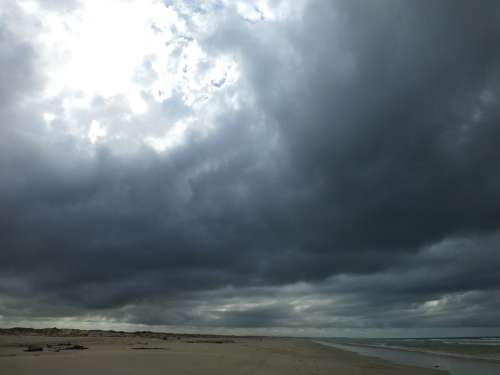 Clouds Gloomy Beach Sky