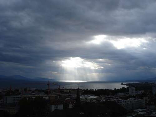Clouds Sky Sun Light Lake Lausanne Switzerland