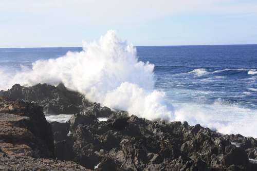 Coast Wave Surf Sea Ocean Tenerife Spray Beach