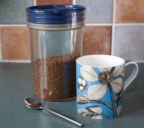 Coffee Mug Cup Pretty Blue Jar Storage Jar