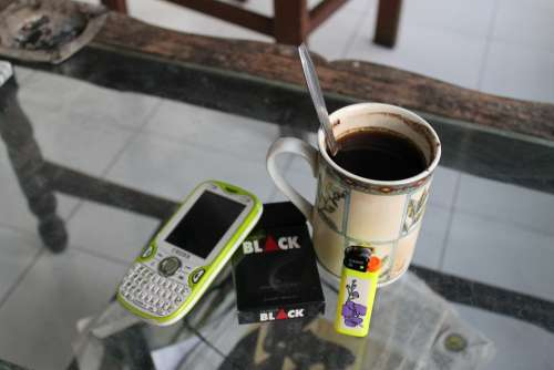 Coffee Coffee Break Mobile Phone Cigarettes Lighter