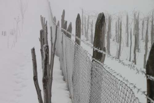 Cold Fence Frozen Iron White Wire Winter