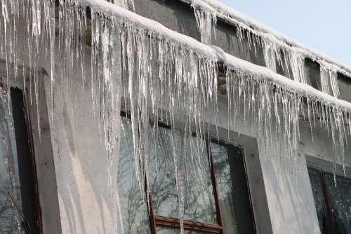 Cold Hanging Home House Icicles Roof Winter