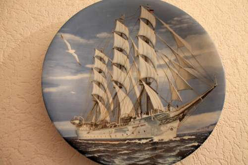 Collection Plate Ship Porcelain Collect Collection