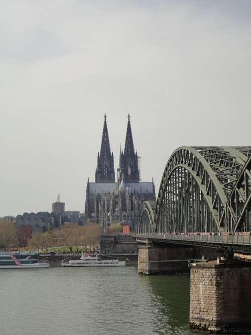 Cologne Dom Building Germany Bridge