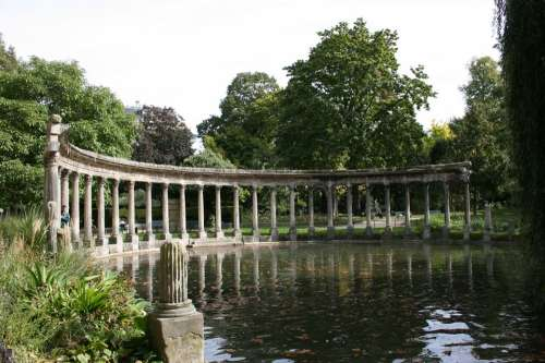 Colonnade Columns Lake Parc Monceau Paris