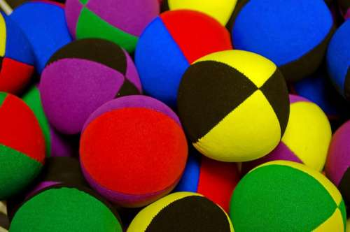 Colored Balls Ball Fabric Stitched Juggling