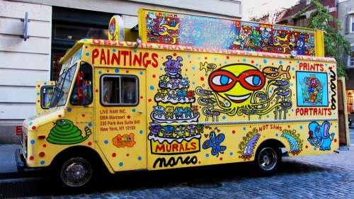 Colorful Vans Cheerful Advertising Advertisement