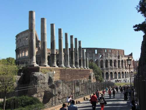 Colosseum Rome Columnar Italy Roman Building