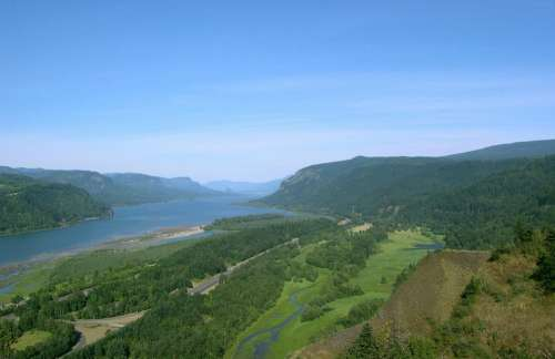 Columbia River River Columbia Gorge Sky Green Blue