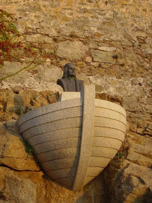 Columbus Corsica Statue Stone Monument Heritage