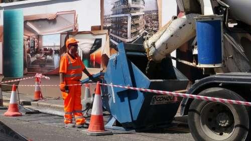 Concrete Cement Mixer Man Worker Construction