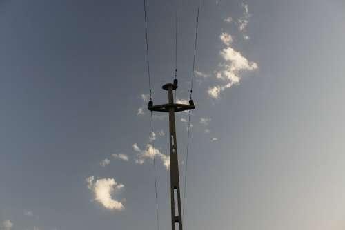 Concrete High Voltage Power Lines Blue Dark Sky