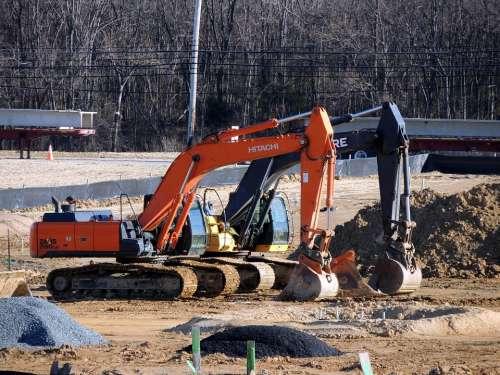 Construction Equipment Site Machines Orange