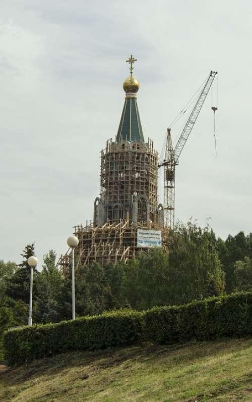Construction Temple Scaffold Crane Building City