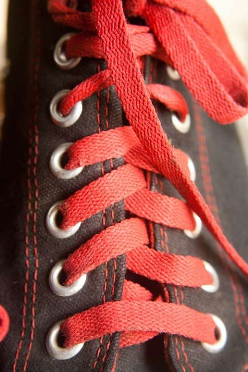 Converse Laces Black Shoes Red Sneakers Fashion