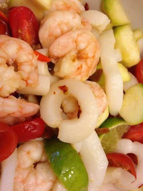 Cook Eat Seafood Shrimp Squid