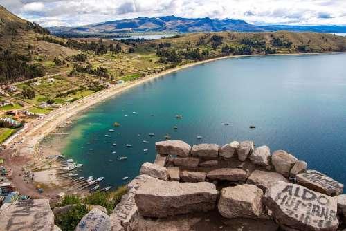 Copacabana Bolivia Titicaca Lake Landscape Sky
