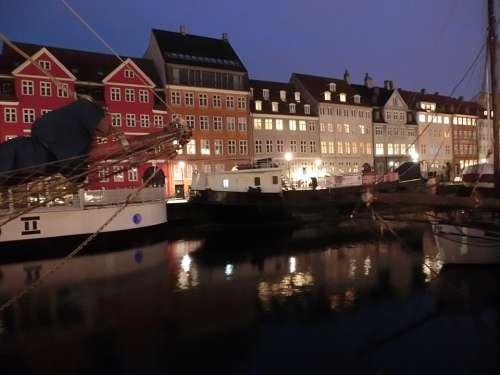 Copenhagen Denmark Boats Sailing Ships Port Nyhavn