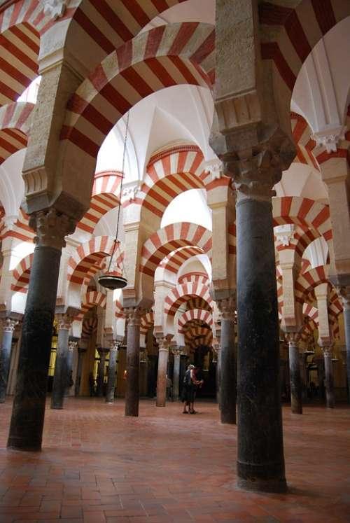 Cordoba Mosque Columns Archi Spain Andalusia