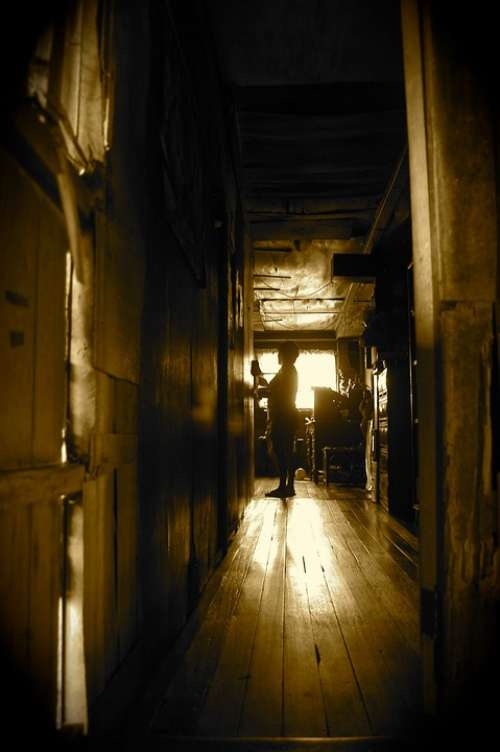 Corridor Hallway Dark Wood Antique Wooden House