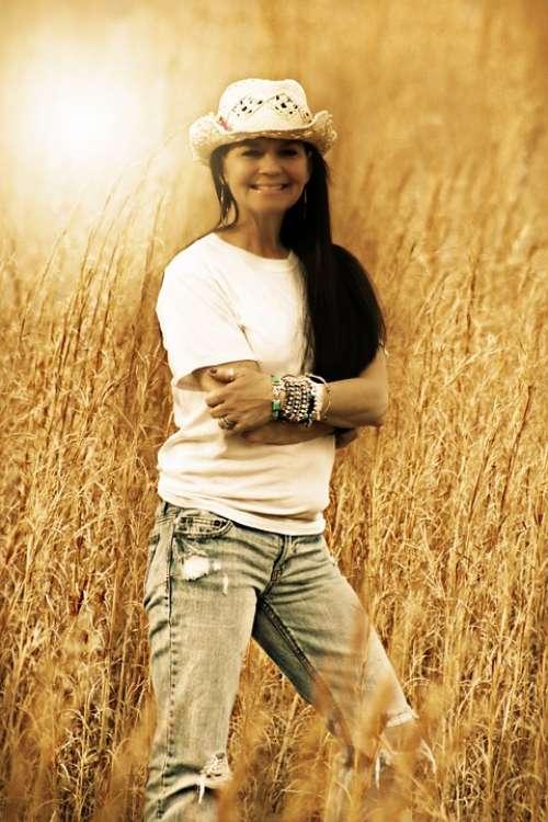 Country Girl Woman Wheat Field Field Summer Hot