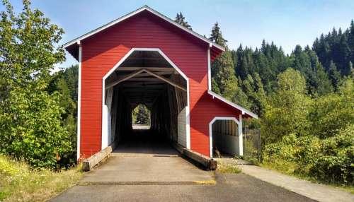 Covered Bridge Red Rural Outdoor Oregon Bridge