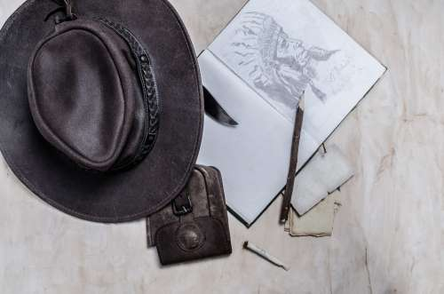 Cowboy Western West Hat Book Diary Painting